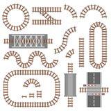 Set kolejowy części, poręcza lub linii kolejowej odgórny widok, Różni taborowi budowa elementy Taborowy transportu ślad robić ilustracja wektor