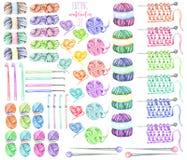 Set, kolekcja z akwarela dziewiarskimi elementami: przędza, dziewiarskie igły i szydełkowi haczyki, ilustracji