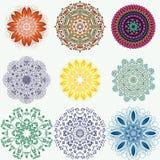 Set kolorów etniczni ornamentacyjni kwieciści wzory Ręka rysujący manda ilustracja wektor