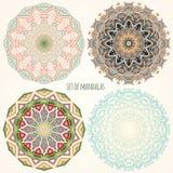 Set kolorów mandalas etniczni motywy Fotografia Royalty Free