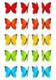 Set kolorów motyle odizolowywający na bielu royalty ilustracja