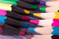 Set kolorów ołówki na drewnianym tle Makro- z bliska Obraz Royalty Free