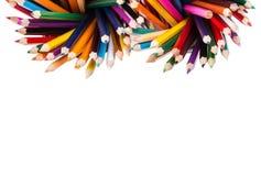 Set kolorów ołówki w dwa biurowych koszach Obraz Royalty Free