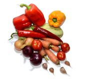Set kolorów warzywa na białym tle zdjęcia stock