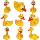 Set kolor żółty zabawki kaczki Obraz Royalty Free