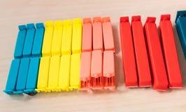 Set kolor i różni rozmiary plastikowa karmowa torba cli Fotografia Stock