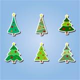 Set kolor ikony z choinkami royalty ilustracja