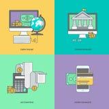 Set kolor linii ikony na temacie internet bankowość, online zapłata ilustracji