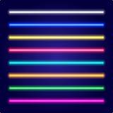 Set kolor wiązki laserowe Neonowej tubki światło wektor Fotografia Stock