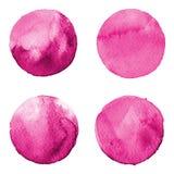 Set kolorowa akwareli ręka malował okrąg odizolowywającego na bielu Ilustracja dla artystycznego projekta Round plamy, kropli law Zdjęcie Stock