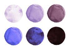 Set kolorowa akwareli ręka malował okrąg odizolowywającego na bielu Ilustracja dla artystycznego projekta Round plamy, kropli law Fotografia Royalty Free