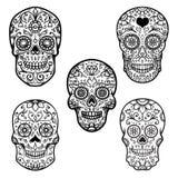 Set kolorowa cukrowa czaszka odizolowywająca na białym tle dzień nie żyje de muertos Dia Los Projektuje element dla plakata, kart Obrazy Stock