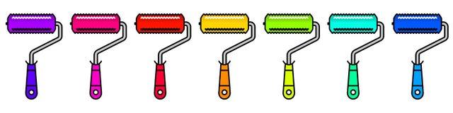 Set kolorowa farba rolowników Liniowa ilustracja Fotografia Stock