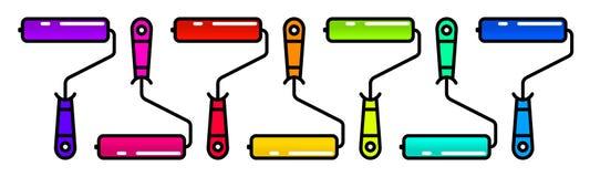 Set kolorowa farba rolowników Liniowa ilustracja stubarwni rolkowi muśnięcia Zdjęcia Royalty Free