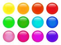 Set kolorowa odosobniona glansowana wektorowa sieć zapina Piękni internetów guziki na białym tle Zdjęcie Royalty Free