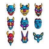 Set kolorowa wakacje maska z rogami i strasznym emoji ilustracji