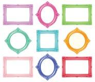Set kolorowe antykwarskie ramy ilustracji