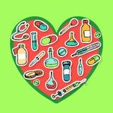 Set Kolorowe doodle studenta medycyny ikony Obraz Stock