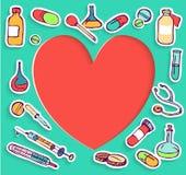 Set Kolorowe doodle studenta medycyny ikony Zdjęcia Royalty Free