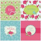 Set Kolorowe Karty z Różanymi Elementami Fotografia Royalty Free