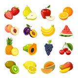 Set kolorowe kreskówki owoc ikony Obrazy Royalty Free