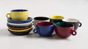Set kolorowe małe filiżanki Obrazy Stock