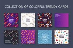 Set kolorowe modne karty - sztuka projekt Moda stylowy 80-90s Abstrakcjonistyczne pokrywy, sztandary, ulotki, plakaty i broszurki royalty ilustracja