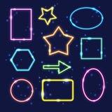 Set kolorowe neonowe ramy z przestrzenią dla teksta Zdjęcia Stock