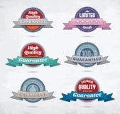Set kolorowe odznaki z faborkami royalty ilustracja