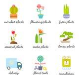 Set kolorowe płaskie ikony dla kwiatu lub kwiaciarni sklepu Obrazy Stock