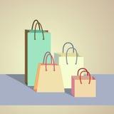Set kolorowe papierowe torby Zdjęcia Royalty Free
