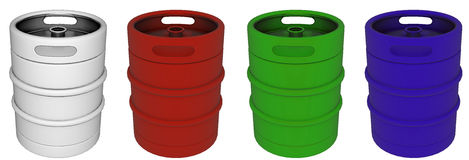 Set kolorowe piwne baryłki Zdjęcie Stock