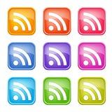Set kolorowe RSS ikony Zdjęcie Royalty Free
