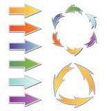 Set kolorowe strzała i diagram Obrazy Royalty Free