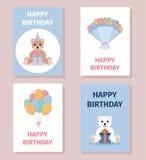 Set kolorowe urodzinowe karty Zdjęcie Stock