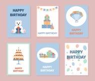 Set kolorowe urodzinowe karty Obrazy Royalty Free