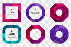 Set kolorowego 3D origami geometryczni kształty dla projekta logowie, sztandary i inny, zdjęcie royalty free