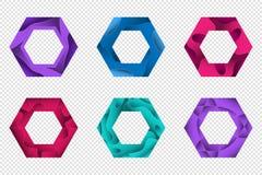 Set kolorowego 3D origami geometryczni kształty dla projekta logowie, sztandary i inny, fotografia royalty free