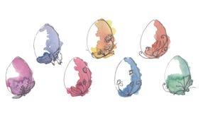 Set kolorowej akwareli Wielkanocni jajka odizolowywaj?cy na bia?ym tle ilustracji