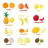 Set kolorowej kreskówki owocowe ikony bonkrety, pomarańcze, banan, ananas, kiwi, cytryna, wapno Wektorowa ilustracja, odizolowywa Obrazy Royalty Free