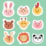 Set kolorowi śliczni zwierzęta i zwierzęta domowe Obraz Stock