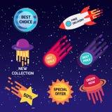 Set kolorowi astronautyczni majchery, sztandary Najlepszy wybór, nowa kolekcja, specjalna oferta, bezpłatna dostawa, gorąca sprze ilustracji