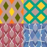 Set kolorowi bezszwowi wzory z geometrycznymi elementami Zdjęcia Royalty Free