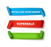 Set kolorowi horyzontalni wyginający się papierowi tasiemkowi sztandary z rolkami i przestrzeń dla teksta odizolowywającego na bi Zdjęcie Royalty Free