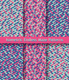 Set kolorowi isometric labiryntów wzory bezszwowy ornament Jaskrawe menchie, zmrok - błękit, pistaci zieleń Fotografia Stock