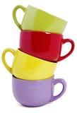 Set kolorowi kubki Zdjęcie Royalty Free