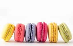 Set kolorowi macaroons odizolowywający na białym tle Słodcy macaroons Obrazy Stock
