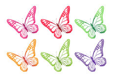 Set Kolorowi motyle Odizolowywający dla wiosny Fotografia Stock