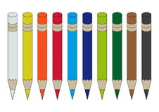 Set kolorowi ołówki odizolowywający na białym tle royalty ilustracja