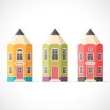 Set kolorowi ołówkowi domy Zdjęcie Stock